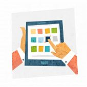 Mobile Technologies Concept Design. Tablet PC with App Icons and Hands. Flat Style Vector Illustrati