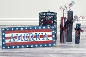 america sign and fireworks
