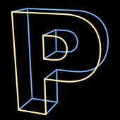 glowing letter P isolated on black background