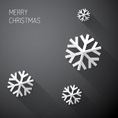 Modern simple minimalistic christmas card with long shadows - black and white