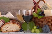 wine with cheese and bread