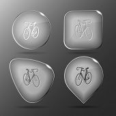 Bicycle. Glass buttons. Raster illustration.