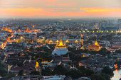 Bangkok Cityscape At Twilight, The Golden Mountain Of Thailand(wat Sraket, Bangkok)