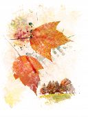 Watercolor Digital Painting Of Colorful Autumn