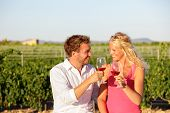 Red wine drinking couple toasting at vineyard. People drinking red or rose wine smiling happy doing toast. Romantic lovers outside. Young Caucasian man and woman.