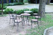metal garden chair in beautiful garden
