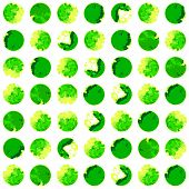 Watercolor modern pattern with green polka dots. Seamless pattern. Abstract background.