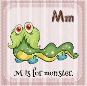 Illustration of  a letter M is for monster
