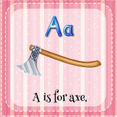 Illustration of a letter a is for axe