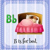 Illustration of a letter B is for bed