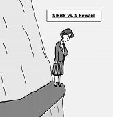 image of cliffs  - Cartoon of a businesswoman standing on a narrow cliff ledge looking down and a sign that says dollar risk versus dollar reward - JPG