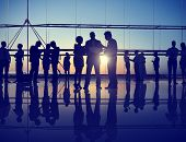 Silhouette Business People Corporate Connection Discussion Meeting Concept