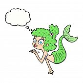 cartoon pretty mermaid with thought bubble