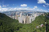 Wide angle aerial view to the Hong Kong city China.