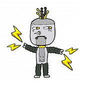 cartoon waving robot with thought bubble
