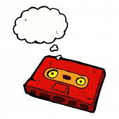 cartoon cassette tape with thought bubble