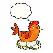 cartoon hen on nest