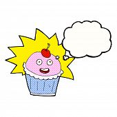 cartoon cupcake with thought bubble