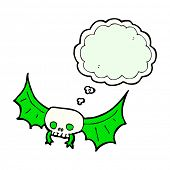 cartoon spooky skull bat with thought bubble