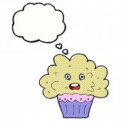 cartoon big cupcake with thought bubble
