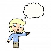 cartoon pointing person with thought bubble