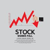 Stock Shares Fall Down Vector Illustration Conceptual.