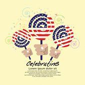 America Flag Lollipop Festival Concept.