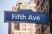 Fifth avenue blue sign 5 th Av New York Manhttan USA