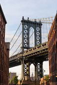 Manhattan Bridge at Brooklyn street New York city US