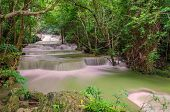 Waterfall In Deep Rain Forest Jungle (huay Mae Kamin Waterfall In Kanchanaburi Province, Thailand)