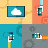 Cloud computing flat design vector illustration with human hands holding smartphones.