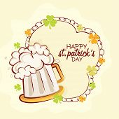 Clover leaves decorated frame with beer mug on yellow background for Happy St. Patrick's Day celebration.