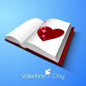 Pink hearts coming out from paper cut-out heart shape on shiny blue background for Happy Valentines Day celebration.