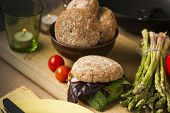 Gourmet Healthy Food With Bread And Veggies