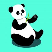 Vector illustration of cute panda sitting and holding a bamboo branch on blue background