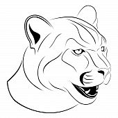 stock photo of cougar  - Abstract Cougar in the form of a tattoo - JPG