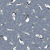 flying feathers seamless pattern.
