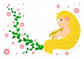 Vector flat illustration of cute smiling blonde girl looking to the left with green leaves and pink