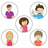 Set of young cartoon characters in different pose on white background.