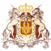 Heraldic Design With Coat Of Arms And Unicorns