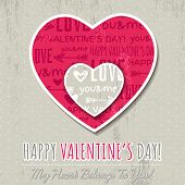 Background With  Two Valentine Hearts And Wishes Text
