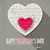 Grey Background With  Two Valentine Hearts,  Vector