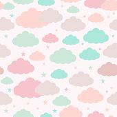 Childish Seamless Background With Clouds And Stars