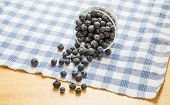 Blueberries Spilling From Glass Dish