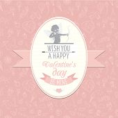 Greeting card with cute Cupud. Festive Valentine's Day seamless
