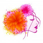 Beautiful young girl face closing her eyes with flowers and color splash on white background for International Women's Day celebration.