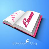 Glossy book page with 3D pink text Love and hearts on blue background for Happy Valentines Day celebration.