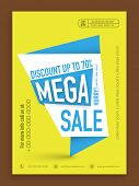 Mega Sale flyer, template or banner with discount upto 70% off.