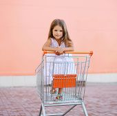 Little Child In Shopping Cart Outdoors