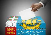 Ballot Box Painted Into National Flag Colors - Saint-pierre And Miquelon
